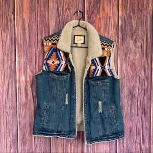 Forever 21 Denim Sherpa Aztec Vest
